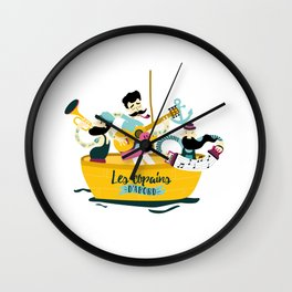 brassens musician music guitare boat sea friends trumpet accordion notes ocean french fun Wall Clock