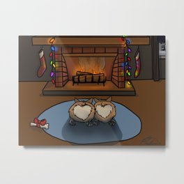 Cozy Corgi Christmas Metal Print