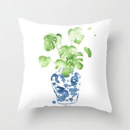 Ginger Jar + Monstera Throw Pillow