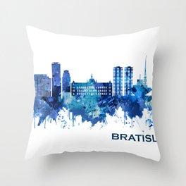 Bratislava Slovakia Skyline Blue Throw Pillow