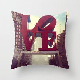 Love Park Philadelphia Street Photography Throw Pillow