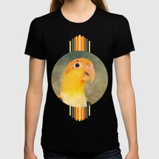 White Bellied Caique Parrot Black Womens Fitted Tee MEDIUM