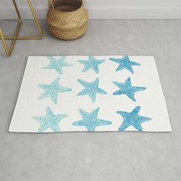Blue Watercolor Starfish Rug