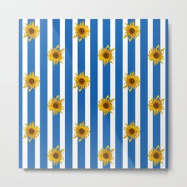 Sunflowers on Blue Stripes Metal Print