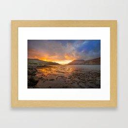 Sunset over Connemara fjord Framed Art Print