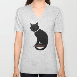 Three-Eyed Black Cat Learning Witchcraft Unisex V-Neck