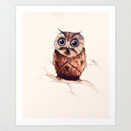 Owl in the snow Art Print