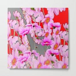 MODERN FUCHSIA  PINK FLOWERS  GREY & RED ABSTRACT ART Metal Print