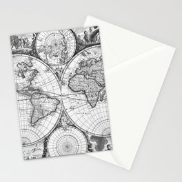 Black and White World Map (1670) Stationery Cards