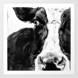 Black and White Cow - Dairy Cow - Farm Animal - Holstein Cow Art Print
