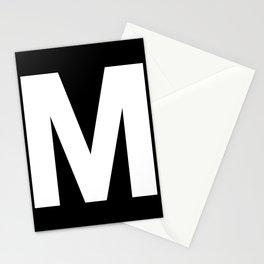 Letter M (White & Black) Stationery Cards
