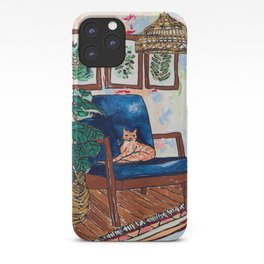 Ginger Cat on Blue Mid Century Chair Painting iPhone Case