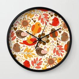 Fall Birds Wall Clock