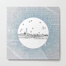 Washington D.C., City Skyline Illustration Drawing Metal Print
