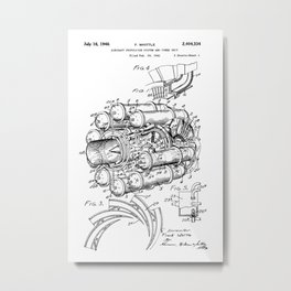 Jet Engine: Frank Whittle Turbojet Engine Patent Metal Print