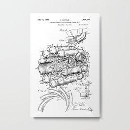 Jet Engine: Frank Whittle Turbojet Engine Patent Metal Print