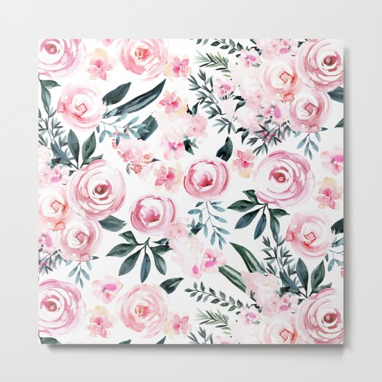Floral Rose Watercolor Flower Pattern Metal Print