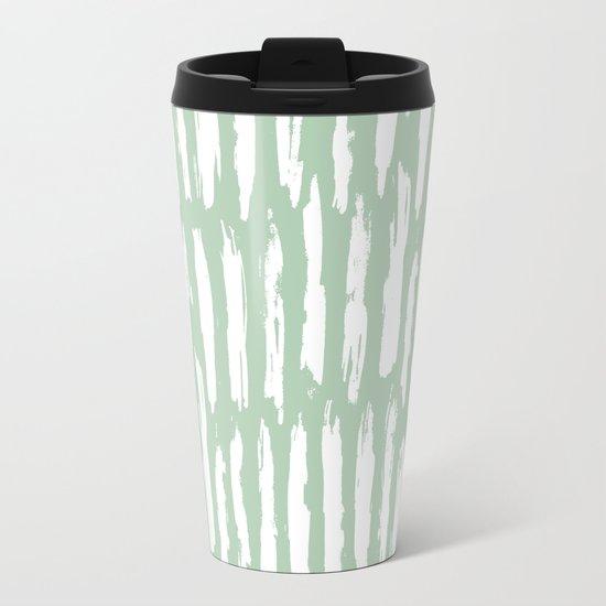 Vertical Dash Stripes White on Pastel Cactus Green Metal Travel Mug