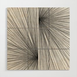 Mid Century Modern Geometric Abstract Radiating Lines Wood Wall Art