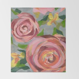 Platinum Rose Throw Blanket