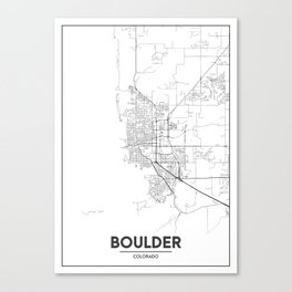 Minimal City Maps - Map Of Boulder, Colorado, United States Canvas Print