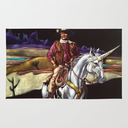 Black Velvet John Wayne Riding a Unicorn Rug
