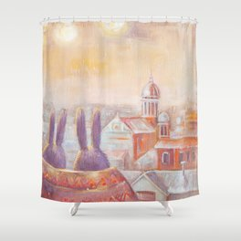 Two Rabbits in Rome Shower Curtain