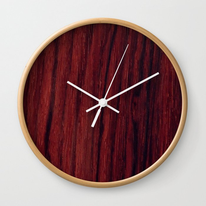 Deep Red Wood Veneer Design Wall Clock