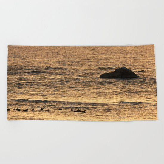 Golden Hour on the Sea Beach Towel