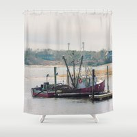 cape cod Shower Curtains featuring Cape Cod Fishing Boat by ELIZABETH THOMAS Photography of Cape Cod