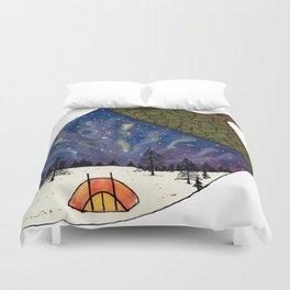 Camping under Aurora Borealis in a Nutshell Duvet Cover