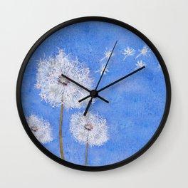 flying dandelion watercolor painting Wall Clock