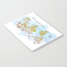 World Map Watercolor Notebook