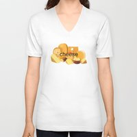 cheese V-neck T-shirts featuring cheese by dogbauu