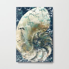 Nautical Nautilus Metal Print
