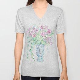 Blue vase of pink flowers Unisex V-Neck