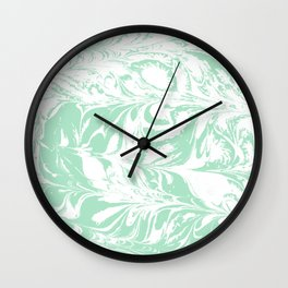 Asa - spilled ink mint marble japanese watercolor marbling marbled water wave ocean sea minimal Wall Clock
