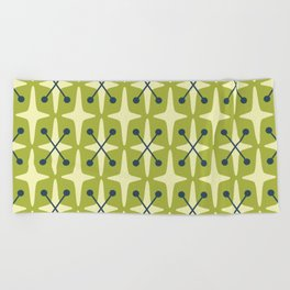 Mid Century Modern Star Pattern 541 Chartreuse Beach Towel