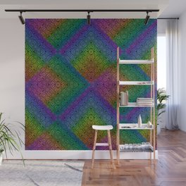 Multicoloured hypnotic diamond trance pattern Wall Mural