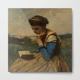 "Jean-Baptiste-Camille Corot ""A Woman Reading"" Metal Print"