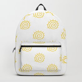 Yellow Spiral Sun on white background Backpack