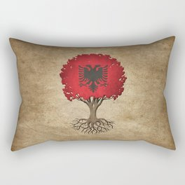 Vintage Tree of Life with Flag of Albania Rectangular Pillow