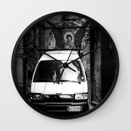 An angel in Naples street art bw photography Wall Clock