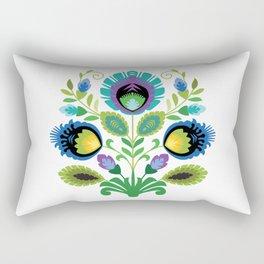 Polish Folk Flowers Teal Rectangular Pillow