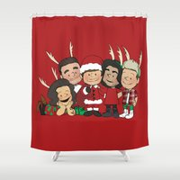 liam payne Shower Curtains featuring It's Christmas, Liam Payne by Ashley R. Guillory