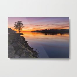 Red sunset at Lima river in Portugal Metal Print