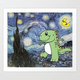 Tyrannosaurus Rex Under the Starry Night Sky Art Print