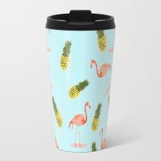 Flamingo and Pineapple Travel Mug