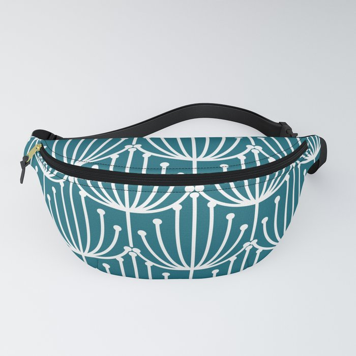 Retro Art, Floral Prints, Teal and White Fanny Pack