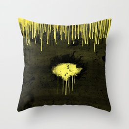 Yellow Drips Throw Pillow